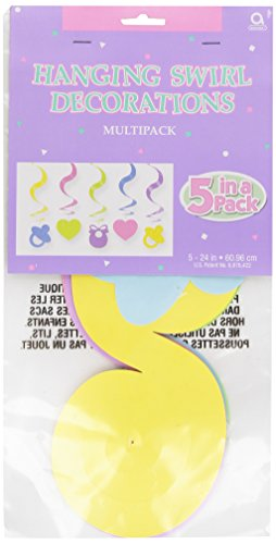 Amscan 26701 Baby Shower Hanging Swirl Decorations 5 count