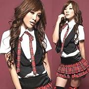 【コスプレ】スカートが赤チェックセーラー服/ベスト付/コスチューム/AKB風 C501 (M)