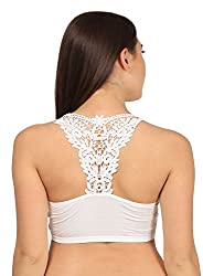 Net, Lace Stretchable Crop Tops / Blouse / Tank Top / Cut Out Padded Bra/Bralet/Bralette White (removable pads)