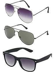 Rhodopsin UV Protected Purple Grey Aviator , Grey Aviator And Black Wayfarer Sunglasses For Women (3_Purple_Grey_and_Grey_Avt_Black_Way)