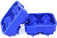 Perfect Kitchen Big Round Ice Cube Trays – Set of 2 – Make 8 Spheres, 1.75-Inch Ice Balls, Blue