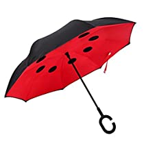 Double Layer Inverted Umbrella,Windproof/Waterproof/UV Protection Travel C shape Handsfree Handle for Car Outdoor