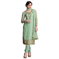 Bhelpuri Women Light Green Brasso Georgette Dress Material