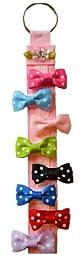 Set of 8 Polka Dot Hair Bows and Free Bow Holder (Baby Snap Clips)