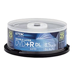 TDK DVD+R Double Layer Media Spindle, 8.5GB/240 Minutes, Pack Of 25