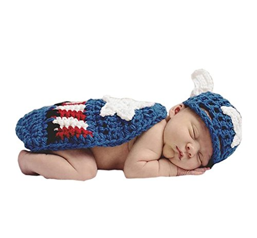 Pinbo Baby Photography Prop Crochet Captain America Hat Cover Cape