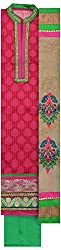 Threads Women's Chanderi Dress Material (Th7016_Pink And Green)