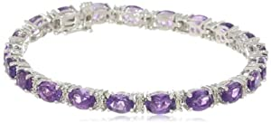 "Sterling Silver Oval Cut Amethyst with Genuine White Diamonds Bracelet, 7.25"" by Amazon Curated Collection"