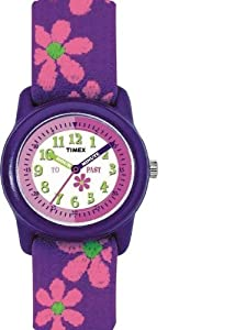 Timex T784014E - Reloj aprendizaje de cuarzo para niña con correa de tela, color morado