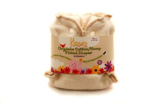 Kissaluvs Organic Cotton/Hemp Fitted Diaper, Unbleached, Newborn 5-15Lbs front-2051