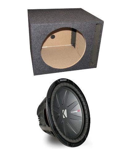 "Kicker Compr 40Cwr122 12"" 1600W Car Subwoofer + Single Vented Sub Box Enclosure"