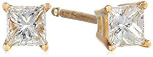 IGI Certified 18k Yellow Gold, Princess-Cut, Diamond 4-Prong Studs (1/3 cttw, H-I Color, SI1-SI2 Clarity)