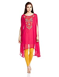 Global Desi Women's Shift Dress (56601-TU-180_Hot Pink_X-Large)