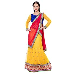 Suchi Fashion Yellow Net And Satin Embroidered Circular Lehenga Choli