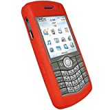 IGadgitz Red Silicone Skin Case Cover for BlackBerry Pearl 8110 8120 8130 + Screen Protector
