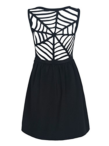 Women's Black V-neck Caged Back Sleeveless A-line Dress
