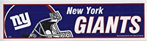 "New York Giants NFL Bumper Sticker - 3"" X 11"""