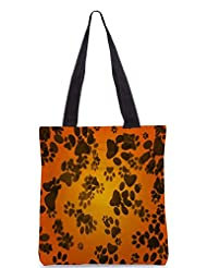 Snoogg Dog Paws Orange Background Designer Poly Canvas Tote Bag