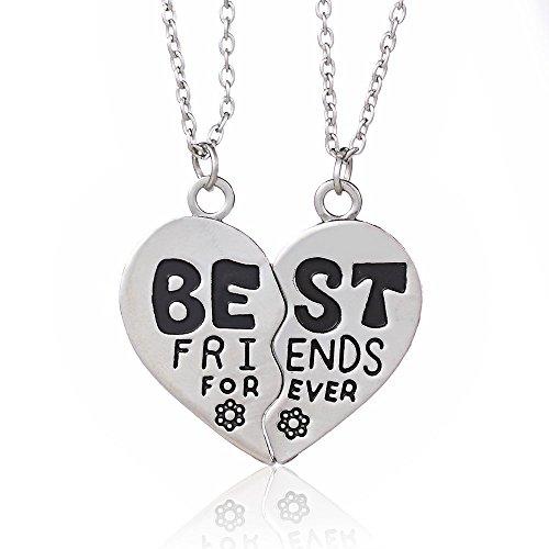 2, in lega d'argento BBF Best Friends Forever-Collana con ciondolo a forma di cuore spezzato divisibile Set regalo donna uomo