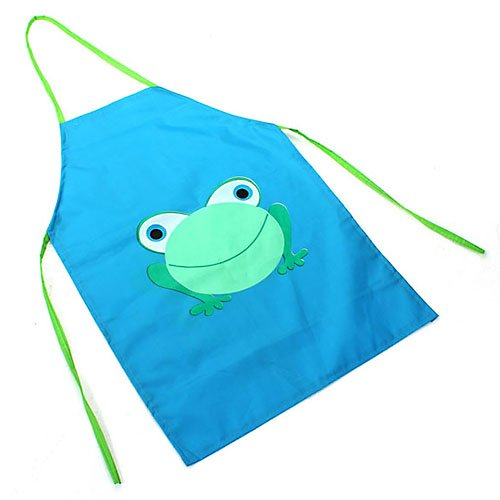 Children's Waterproof Apron Cartoon Frog Printed Painting Cooking Blue - 1