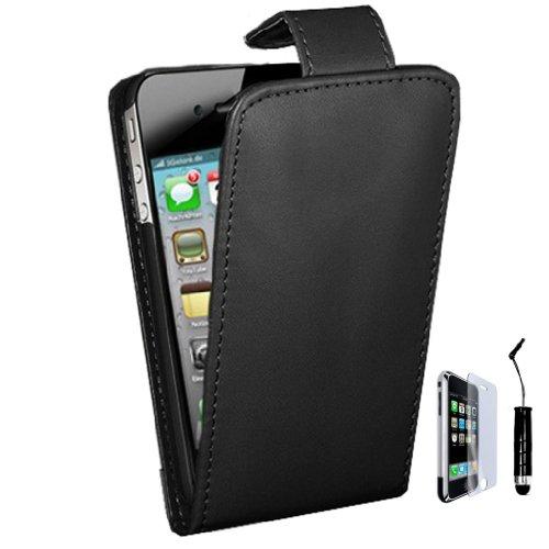 Neu PHOENIX iPhone 4 Hülle schwarz PU-Leder Flip Case - Schwarz & Displayschutz + schwarz Griffel