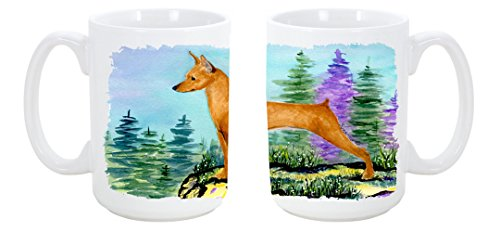 Caroline'S Treasures Min Pin Dishwasher Safe Microwavable Ceramic Coffee Mug 15 Ounce Ss8660Cm15 Made Or Printed In The Usa