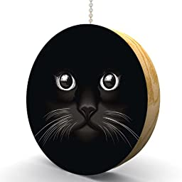 Black Cat Face Hardwood Oak Fan / Light Pull