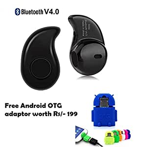 Set of Cute Little OTG Adaptor+smart Bluetooth Headset with mic (with 1 year warranty) Compitable with Intex Eagle Cinema