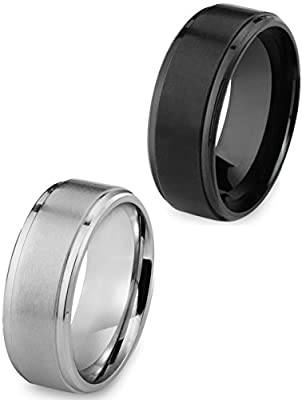 Besteel Stainless Steel 8MM Mens Ring Matte Finish Polished Wedding Engagement Band 2 Pcs Size 8-13