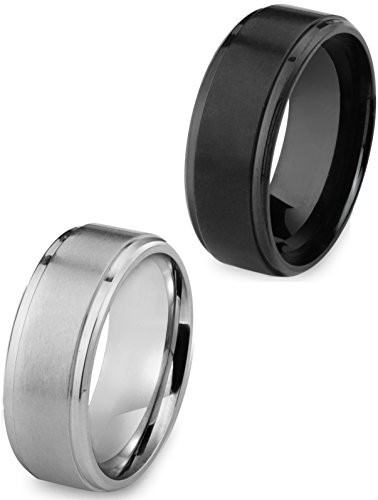 Besteel Stainless Steel 8MM Mens Ring Matte Finish Polished Wedding Engagement Band 2 Pcs Size 8 (Stainless Steel Mens Rings Size 8 compare prices)