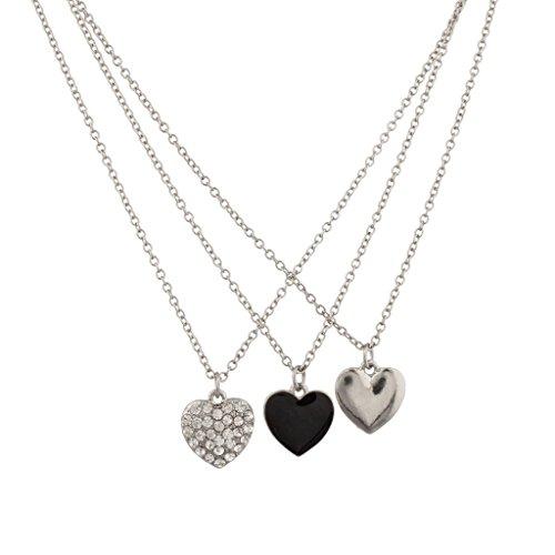 Lux Accessories Triple Heart Pave Crystal Black Enamel Puff Heart Necklace Set 3Pc
