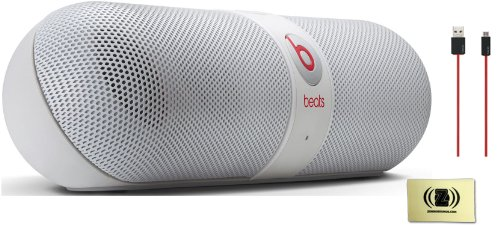 Beats By Dr. Dre Pill 2.0 Portable Speaker System (White) Bundle With Beats By Dr. Dre Usb Cable (Red) And Custom Design Zorro Sounds Cleaning Cloth