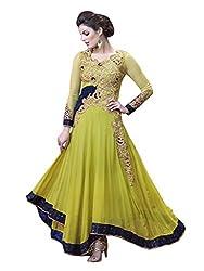 1 Stop Fashion Green Semi Stitched Georgette Anarkali Salwar Kameez