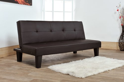 Junior Futon Sofa Bed with Faux Leather Fabric in Brown