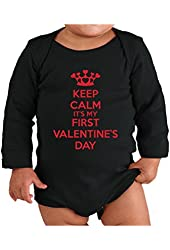 Festive Threads Keep Calm It's My First Valentine's Day Baby Long Sleeve Bodysuit