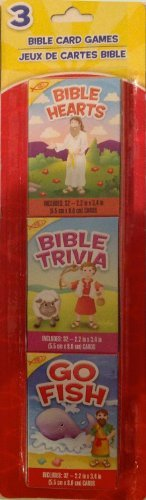 3 Bible Card Games, Bible Hearts, Bible Trivia, Go Fish - 1