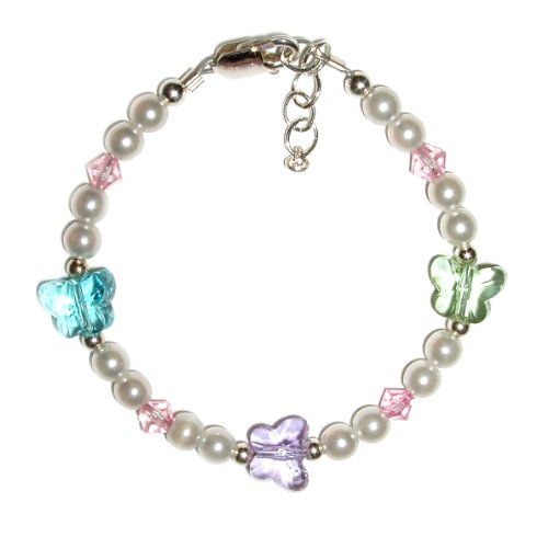 Samantha Sterling Silver Childrens Girls Bracelet Jewelry white pearls accented with pastel crystal butterflies. Sparkling Heirloom! Size Medium 1-5 years