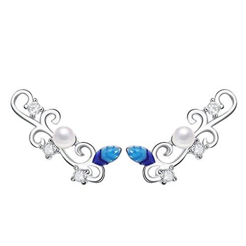 sewanz eleganti da donna in argento Sterling Orecchini con cristalli, colore Enamels designear perla clip