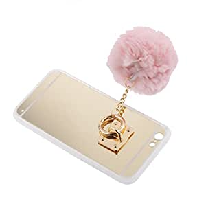Magideal Mirror Surface Phonecase with Imitation Wool Ball for iPhone 6 6S Plus