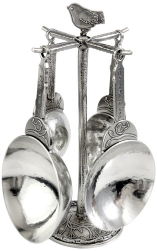 Crosby & Taylor Bird Pewter Measuring Cup Set on Pewter Display Post (Crosby And Taylor Measuring Cups compare prices)