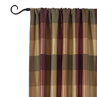 Rowan Plaid Basketweave Tab Top Curtain Panel