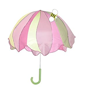 Little girl holding a pink flower umbrella showing bee on top of umbrella