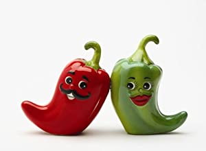 Hot Chili Peppers Magnetic Salt & Pepper Shakers S/P