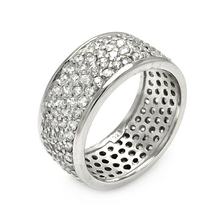 Wide Diamond Color Cubic Zirconia Sterling Silver Band, Includes Gift Box and Pouch. (8)