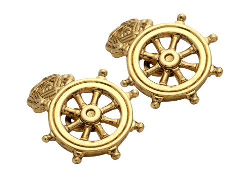 Code Red Gold Plated Ships Wheel Cufflinks with Chain Link