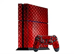 PlayStation 4 Skin (PS4) - - RED DIAMOND PLATE MIRROR system skins faceplate decal mod