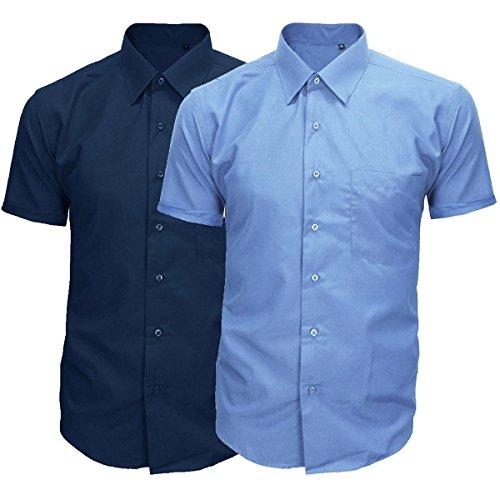 Camicia Uomo Classica Cotone Maniche Corte Basic Casual Colori Vari GIOSAL-Azzurro-L L Azzurro