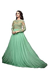 AC76 light green bollywood style floor touch long anarkali suit