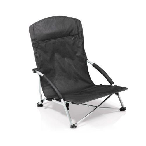 Picnic Time Tranquility Portable Folding Beach Chair, Black