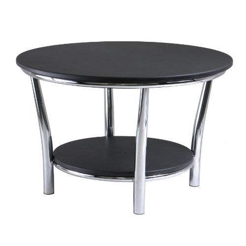 Winsome Wood Maya Round Coffee Table, Black Top, Metal Legs (Black Small Coffee Table compare prices)
